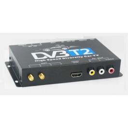 Tuner TV DVB-T2 auto digital cu 2 antene si USB media player